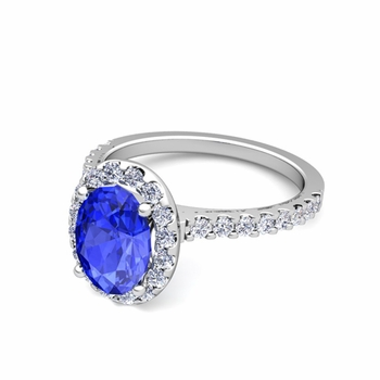 Petite Pave Set Diamond and Ceylon Sapphire Halo Engagement Ring in 14k Gold, 8x6mm