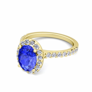 Petite Pave Set Diamond and Ceylon Sapphire Halo Engagement Ring in 18k Gold, 8x6mm