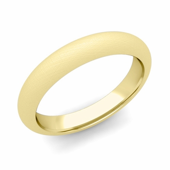 Dome Comfort Fit Wedding Band in 18k White or Yellow Gold, Mixed Brush, 4mm