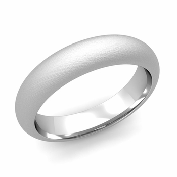 Dome Comfort Fit Wedding Band in 14k White or Yellow Gold, Mixed Brush, 5mm