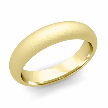 Dome Comfort Fit Wedding Band in 18k White or Yellow Gold, Mixed Brush, 5mm