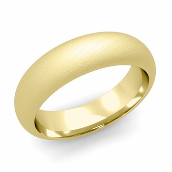 Dome Comfort Fit Wedding Band in 18k White or Yellow Gold, Mixed Brush, 6mm