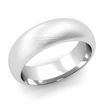 Dome Comfort Fit Wedding Band in 14k White or Yellow Gold, Mixed Brush, 7mm
