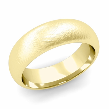 Dome Comfort Fit Wedding Band in 18k White or Yellow Gold, Mixed Brush, 7mm