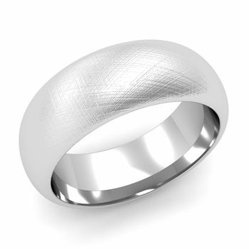 Dome Comfort Fit Wedding Band in 14k White or Yellow Gold, Mixed Brush, 8mm