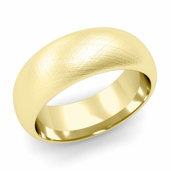 Dome Comfort Fit Wedding Band in 18k White or Yellow Gold, Mixed Brush, 8mm