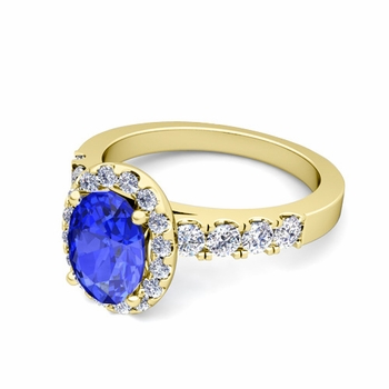 Brilliant Pave Set Diamond and Ceylon Sapphire Halo Engagement Ring in 18k Gold, 8x6mm