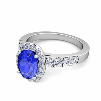 Brilliant Pave Set Diamond and Ceylon Sapphire Halo Engagement Ring in Platinum, 8x6mm