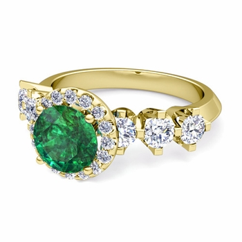 Crown Set Diamond and Emerald Engagement Ring in 18k Gold, 7mm
