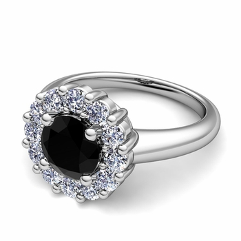 Black and White Diamond Halo Engagement Ring in 14k Gold, 6mm