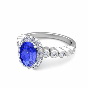 Bezel Set Diamond and Ceylon Sapphire Halo Engagement Ring in 14k Gold, 8x6mm