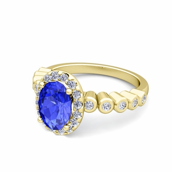Bezel Set Diamond and Ceylon Sapphire Halo Engagement Ring in 18k Gold, 8x6mm