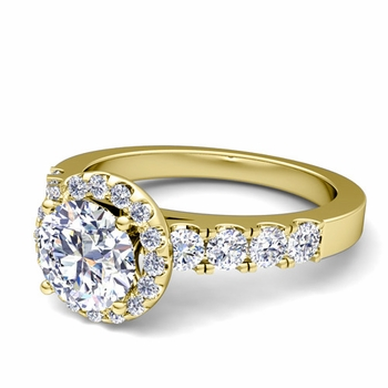 Brilliant Pave Set Diamond Halo Engagement Ring in 18k Gold