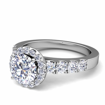Brilliant Pave Set Diamond Halo Engagement Ring in Platinum