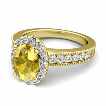 Milgrain Diamond and Yellow Sapphire Halo Engagement Ring in 18k Gold, 7x5mm