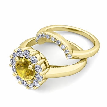 Yellow Sapphire and Halo Diamond Engagement Ring Bridal Set in 18k Gold, 7mm