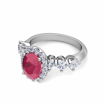 Crown Set Diamond and Ruby Engagement Ring in Platinum, 7x5mm
