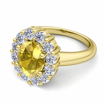 Halo Diamond and Yellow Sapphire Diana Ring in 18k Gold, 9x7mm