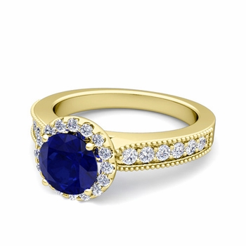 Milgrain Diamond and Sapphire Halo Engagement Ring in 18k Gold, 6mm