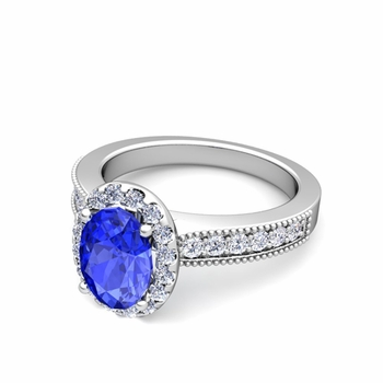 Milgrain Diamond and Ceylon Sapphire Halo Engagement Ring in 14k Gold, 8x6mm