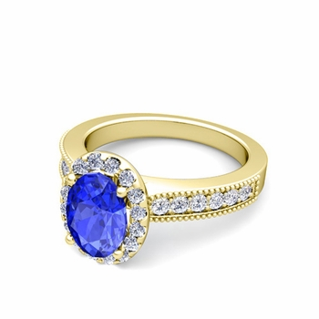 Milgrain Diamond and Ceylon Sapphire Halo Engagement Ring in 18k Gold, 8x6mm