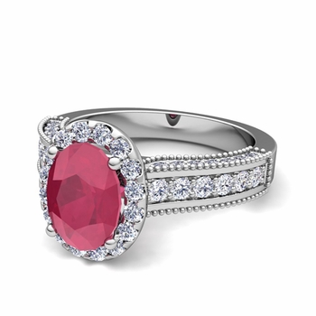 Heirloom Diamond and Ruby Engagement Ring in Platinum, 7x5mm