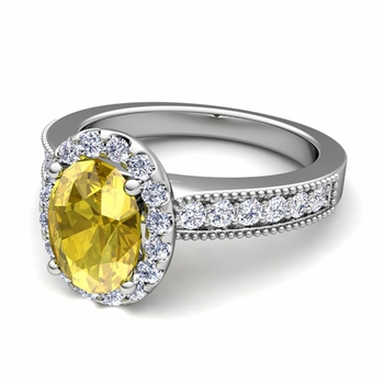 Milgrain Diamond and Yellow Sapphire Halo Engagement Ring in 14k Gold, 7x5mm
