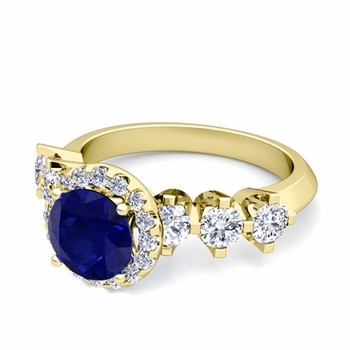 Crown Set Diamond and Sapphire Engagement Ring in 18k Gold, 6mm