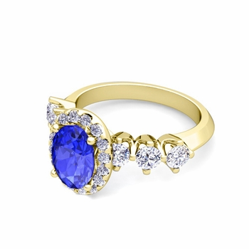 Crown Set Diamond and Ceylon Sapphire Engagement Ring in 18k Gold, 8x6mm