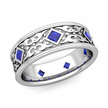Celtic Wedding Band for Men in Platinum Princess Cut Sapphire Ring, 7.5mm