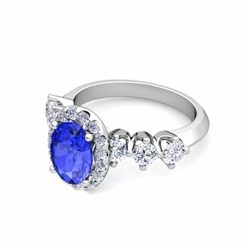 Crown Set Diamond and Ceylon Sapphire Engagement Ring in Platinum, 8x6mm