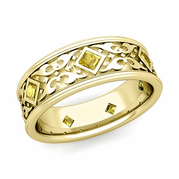 Celtic Wedding Band for Men in 18k Gold Princess Cut Yellow Sapphire Ring, 7.5mm