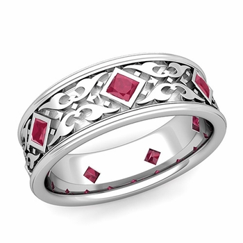 Celtic Wedding Band for Men in Platinum Princess Cut Ruby Ring, 7.5mm