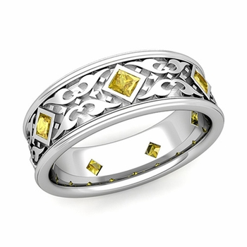 Celtic Wedding Band for Men in Platinum Princess Cut Yellow Sapphire Ring, 7.5mm