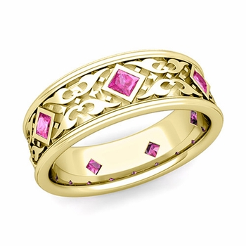 Celtic Wedding Band for Men in 18k Gold Princess Cut Pink Sapphire Ring, 7.5mm