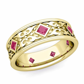 Celtic Wedding Band for Men in 18k Gold Princess Cut Ruby Ring, 7.5mm