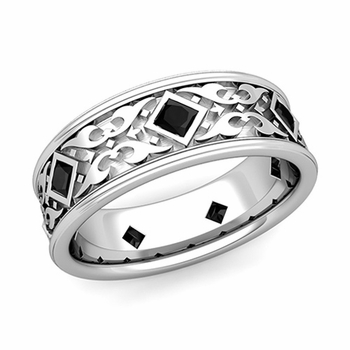 Celtic Wedding Band for Men in Platinum Princess Cut Black Diamond Ring, 7.5mm