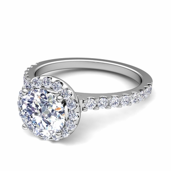 Petite Pave Set Diamond Halo Engagement Ring in 14k Gold