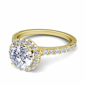 Petite Pave Set Diamond Halo Engagement Ring in 18k Gold