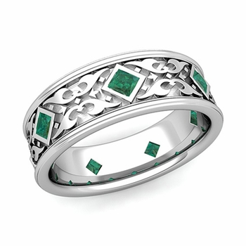 Celtic Wedding Band for Men in Platinum Princess Cut Emerald Ring, 7.5mm