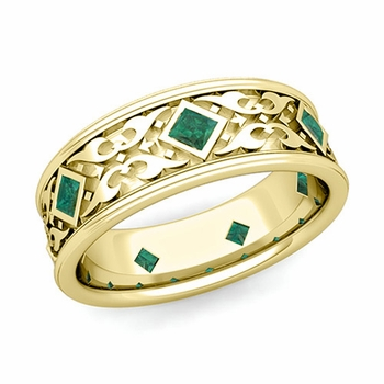 Celtic Wedding Band for Men in 18k Gold Princess Cut Emerald Ring, 7.5mm