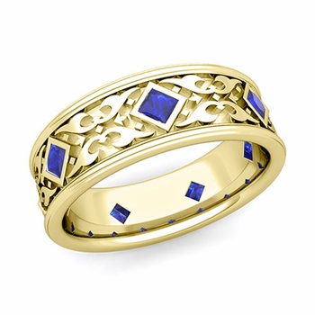 Celtic Wedding Band for Men in 18k Gold Princess Cut Sapphire Ring, 7.5mm