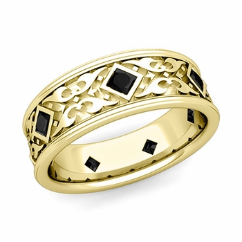 Celtic Wedding Band for Men in 18k Gold Princess Cut Black Diamond Ring, 7.5mm