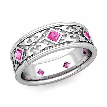 Celtic Wedding Band for Men in 14k Gold Princess Cut Pink Sapphire Ring, 7.5mm