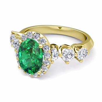 Crown Set Diamond and Emerald Engagement Ring in 18k Gold, 7x5mm