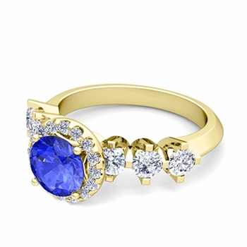 Crown Set Diamond and Ceylon Sapphire Engagement Ring in 18k Gold, 6mm