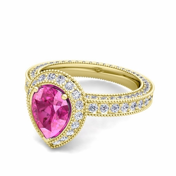 Milgrain Pear Shaped Pink Sapphire and Diamond Engagement Ring in 18k Gold, 8x6mm