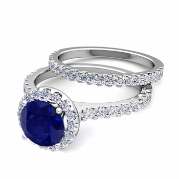 Bridal Set: Pave Diamond and Sapphire Engagement Wedding Ring in Platinum, 6mm