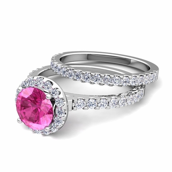 Bridal Set: Pave Diamond and Pink Sapphire Engagement Wedding Ring in 14k Gold, 6mm