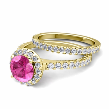 Bridal Set: Pave Diamond and Pink Sapphire Engagement Wedding Ring in 18k Gold, 6mm